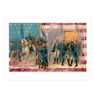 George Washington and Troops Vintage Postcard