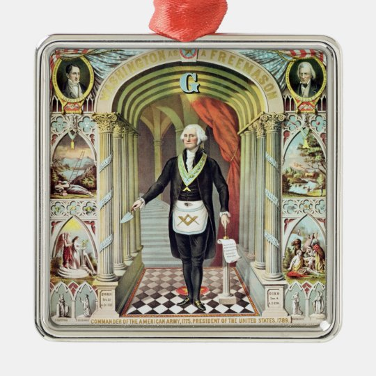 George Washington as a Freemason Metal Ornament