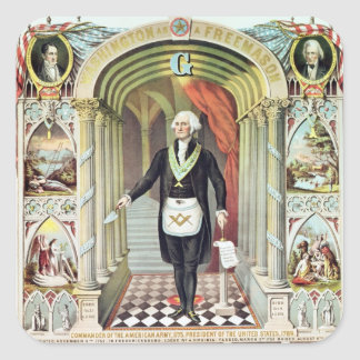 George Washington as a Freemason Square Sticker