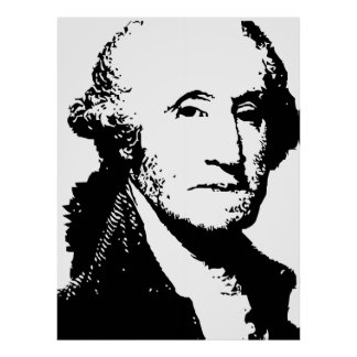 George Washington black and white vector drawing Poster