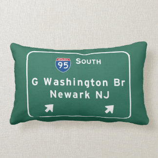George Washington Bridge Interstate I-95 Newark NJ Lumbar Pillow