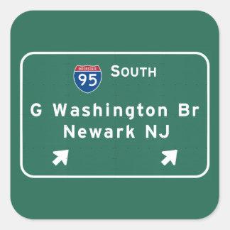 George Washington Bridge Interstate I-95 Newark NJ Square Sticker