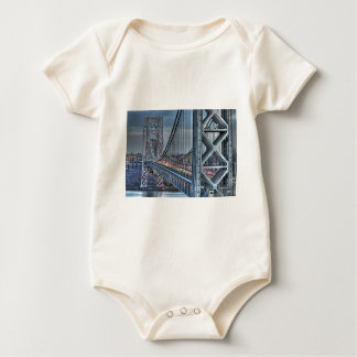 George Washington Bridge & The Red Lighthouse NYC Baby Bodysuit