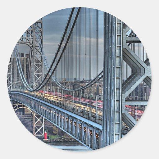 George Washington Bridge & The Red Lighthouse NYC Classic Round Sticker