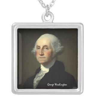 George Washington by Gilbert Stuart - Circa 1800 Square Pendant Necklace