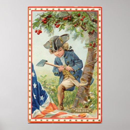 George Washington Cherry Tree Vintage Poster