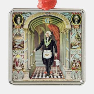 George Washington como Freemason Adorno Navideño Cuadrado De Metal
