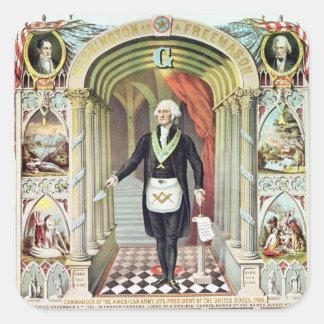 George Washington como Freemason Pegatina Cuadrada