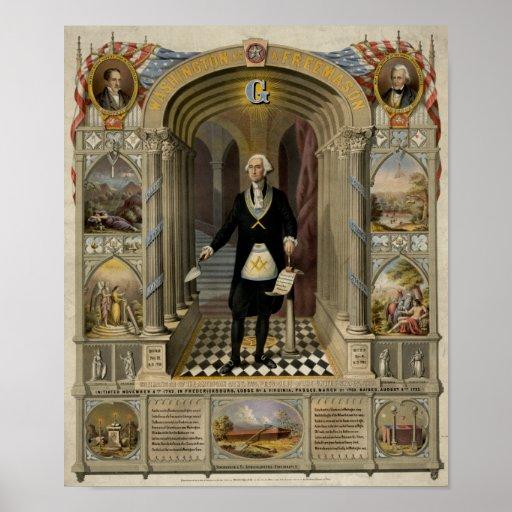George Washington como retrato del Freemason, 1867 Poster