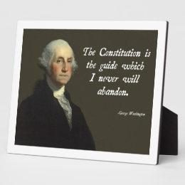 George Washington Constitution Plaque