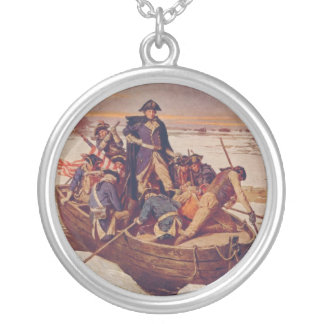 George Washington Crossing the Delaware River Silver Plated Necklace