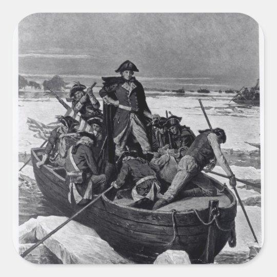 George Washington crossing the Delaware River Square Sticker