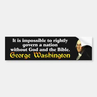 George Washington: ¡Dios y la biblia! Pegatina De Parachoque