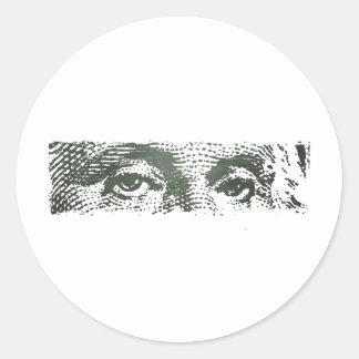 George Washington Dollar Bill Cash Money Classic Round Sticker