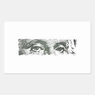 George Washington Dollar Bill Cash Money Rectangular Sticker