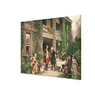 George Washington en el jardín de Bartram Impresión En Lona