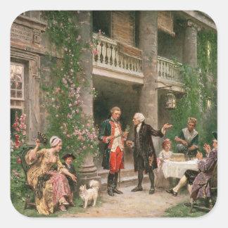 George Washington en el jardín de Bartram Pegatina Cuadrada