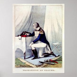 George Washington en el rezo Poster