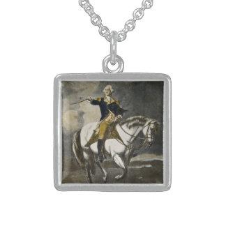 George Washington en la batalla de Trenton Collar De Plata De Ley