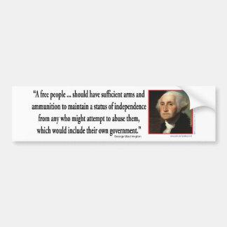 George Washington en las derechas del arma Pegatina De Parachoque
