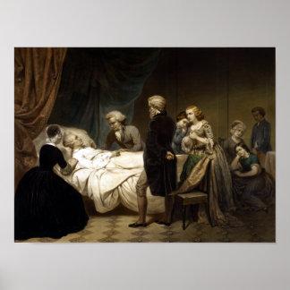 George Washington en su lecho de muerte Póster