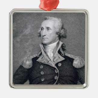George Washington, engraved by Asher Brown Durand Square Metal Christmas Ornament