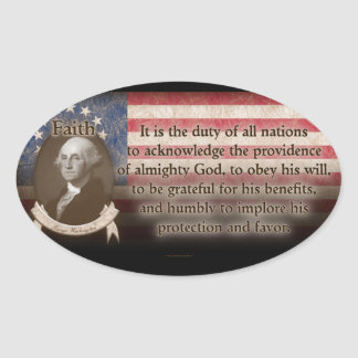George Washington - Faith Oval Sticker