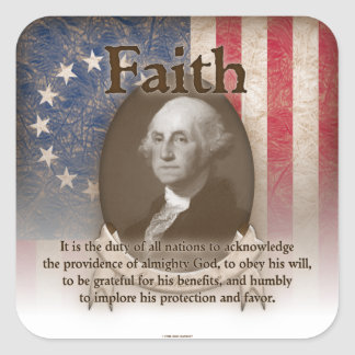 George Washington - Faith Square Sticker