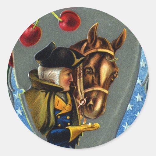 George Washington Feeding Horse Sugar Cube Classic Round Sticker
