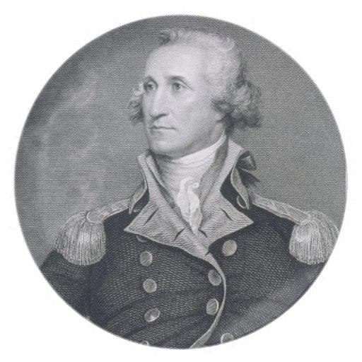 George Washington, grabado por Asher Brown Durand Platos