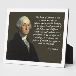 George Washington Immigration Quote Plaque