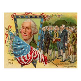 George Washington Inauguration American Flag Postcard
