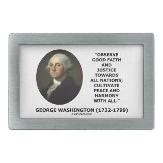 George Washington observa cita de la justicia de Hebilla De Cinturon Rectangular