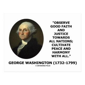 George Washington observa cita de la justicia de Tarjeta Postal