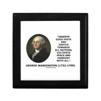 George Washington Observe Good Faith Justice Quote Gift Box