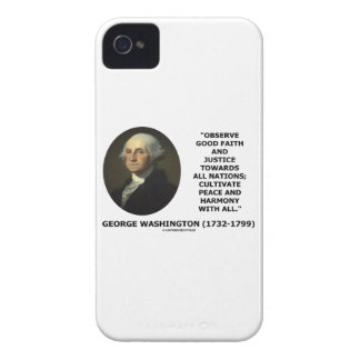 George Washington Observe Good Faith Justice Quote iPhone 4 Cover