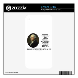 George Washington Observe Good Faith Justice Quote iPhone 4S Skin