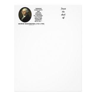 George Washington Observe Good Faith Justice Quote Letterhead