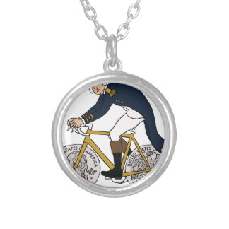 George Washington On Bike With Quarter Wheels Silver Plated Necklace