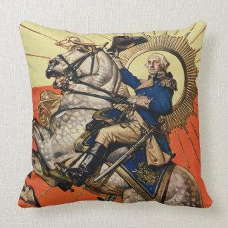 George Washington on Horseback Throw Pillow