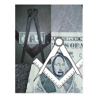 George Washington One Dollar Bill Masonic Imagery Postcard
