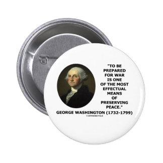 George Washington Preparing For War Peace Quote Button