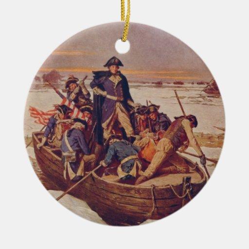George Washington que cruza el río Delaware Ornamento De Navidad