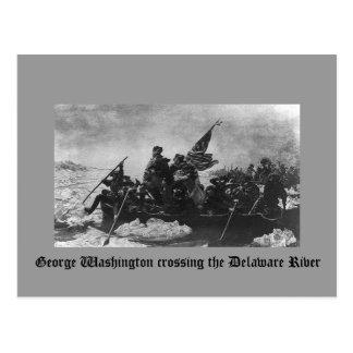 George Washington que cruza el río Delaware Postal