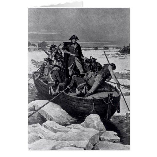 George Washington que cruza el río Delaware Tarjeton
