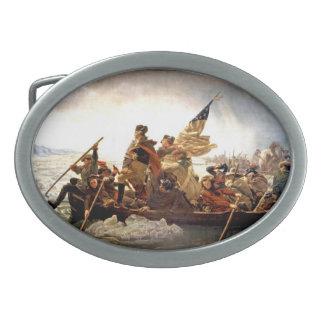 George Washington que cruza la hebilla del Hebilla Cinturon Oval