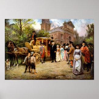 George Washington que llega la iglesia de Cristo Poster