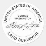 George Washington USA Land Surveyor Seal Round Sticker