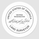 George Washington USA Land Surveyor Seal Stickers
