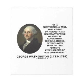 George Washington Virtue Morality Popular Gov't Notepad